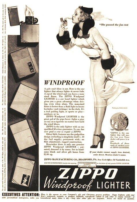 Enoch Bolles Zippo advertisement