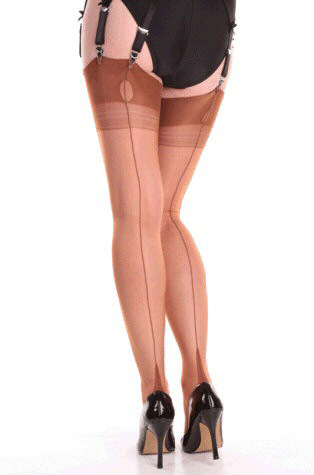 Fully fashioned stockings with a French heel