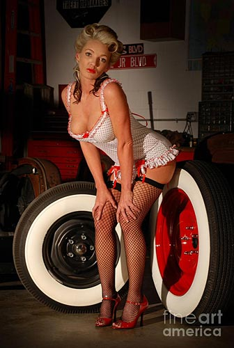 """White Wall Pinup Girl"" by Jeff Thrower pinup photographer"