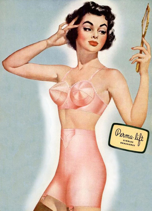Vintage girdle and bullet bra advertisement from Permalift - 1951