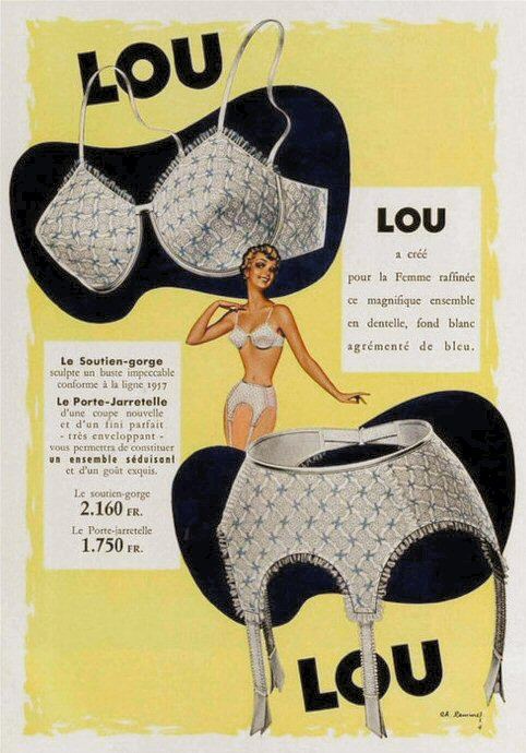 Vintage French lingerie ad from 1957 featuring garter-belt and bra
