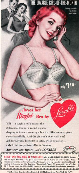 Vintage lingerie ad for a Lovable bulllet bra from 1952