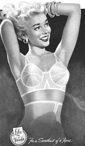 1950s vintage lingerie ad for a Formfit bullet bra