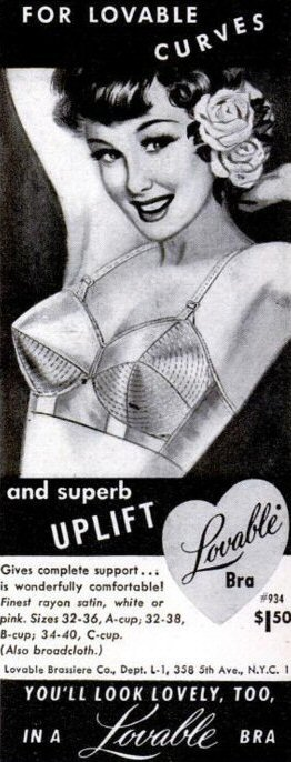 1950s vintage lingerie ad for a Lovable bullet bra