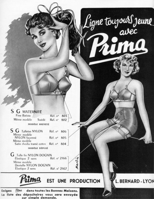 1950s vintage lingerie ad for girdle and bra
