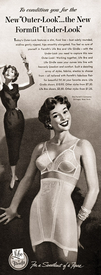 1950s vintage lingerie ad for a Formfit bra and girdle set