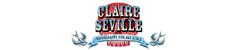 Website banner for Claire Seville Photography for Bad Girls