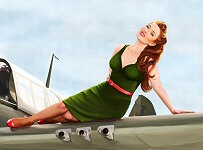 Kelly X pinup painting of model Jessamyn Rose