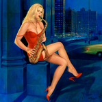 Edward Tadiello pinup painting of model Cindy