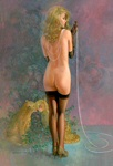 Edward Tadiello pinup painting of model Liegh